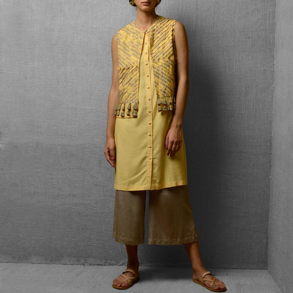 Set Of Yellow Rayon & Cotton Tunic With Cotton & Satin Cropped Wide Leg Pants & Attatched Linen Jacket