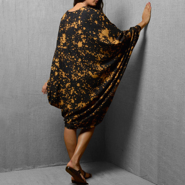 Black Cotton & Rayon Printed Oversized Dress With Front Slit - Free Size