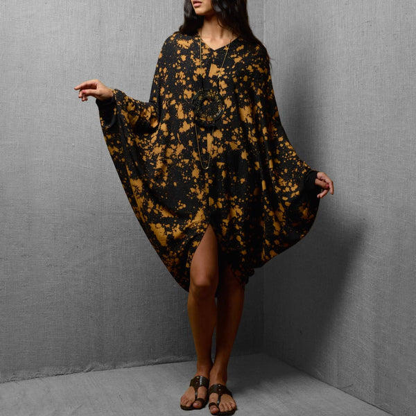 Black Cotton & Rayon Printed Oversized Dress With Front Slit - Free Size by Kanelle by Kanika Jain