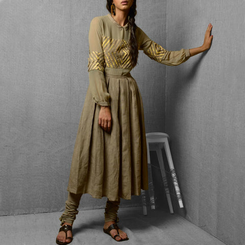 Set Of Beige & Yellow Print Linen & Georgette Kurta With Crushed Cotton Churidar by Kanelle by Kanika Jain