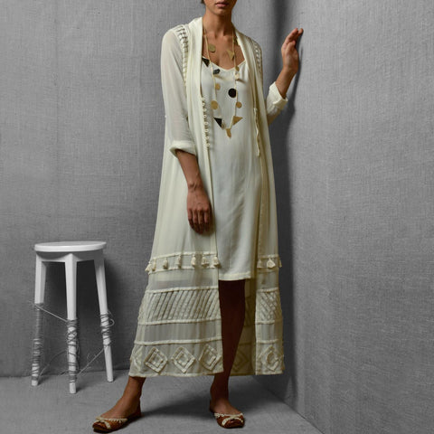 White Georgette & Rayon Front Open Tassel Detail Long Jacket With Straight Cut Inner by Kanelle by Kanika Jain
