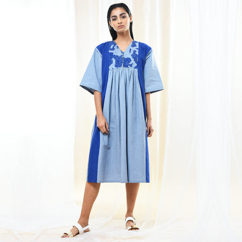 Blue Cotton Oversized Dress by Kanelle by Kanika Jain