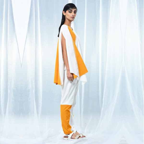 White & Yellow Cotton Drape Coat With Belt