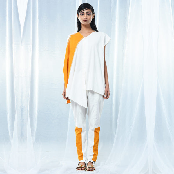 White & Yellow Cotton Drape Coat with Belt by Kanelle by Kanika Jain