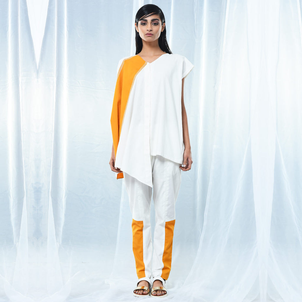 White & Yellow Straight Pants by Kanelle by Kanika Jain