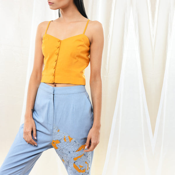 Yellow Cotton Bustier Top by Kanelle by Kanika Jain