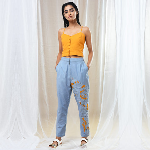 Blue Cotton Straight Fit Pants by Kanelle by Kanika Jain