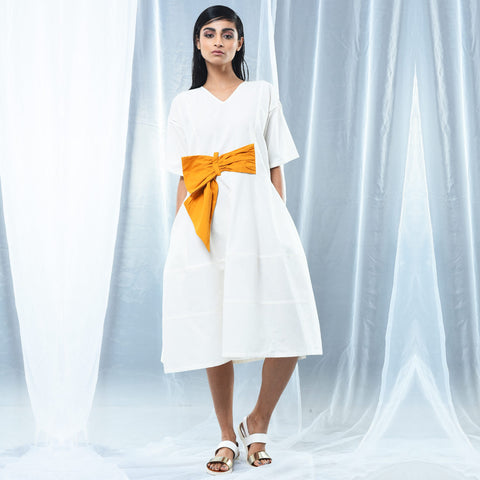 White Cotton Bow Dress by Kanelle by Kanika Jain