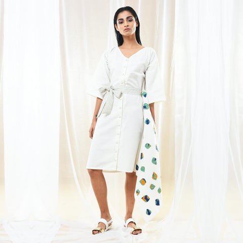 White Cotton Asymmetric Dress with Belt by Kanelle by Kanika Jain