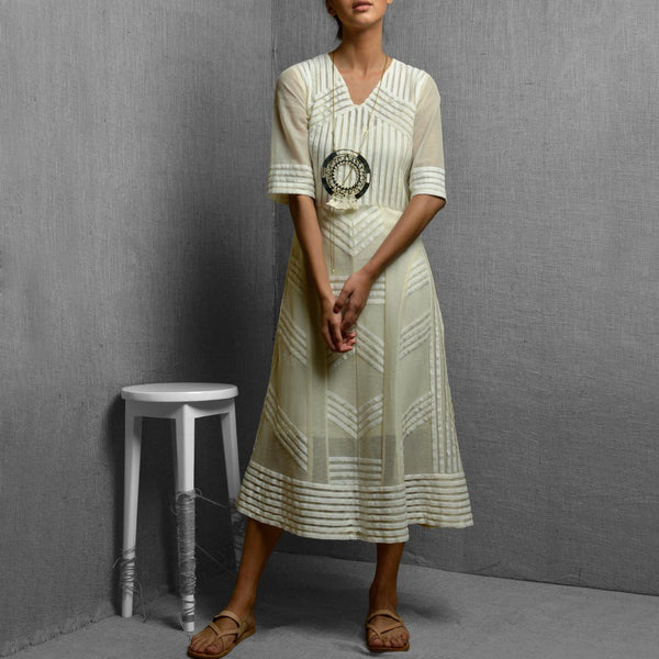 White Cotton Net & Rayon Sheer Fabric Detail Dress With Straight Cut Inner by Kanelle by Kanika Jain