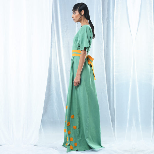 Green Cotton Maxi Dress
