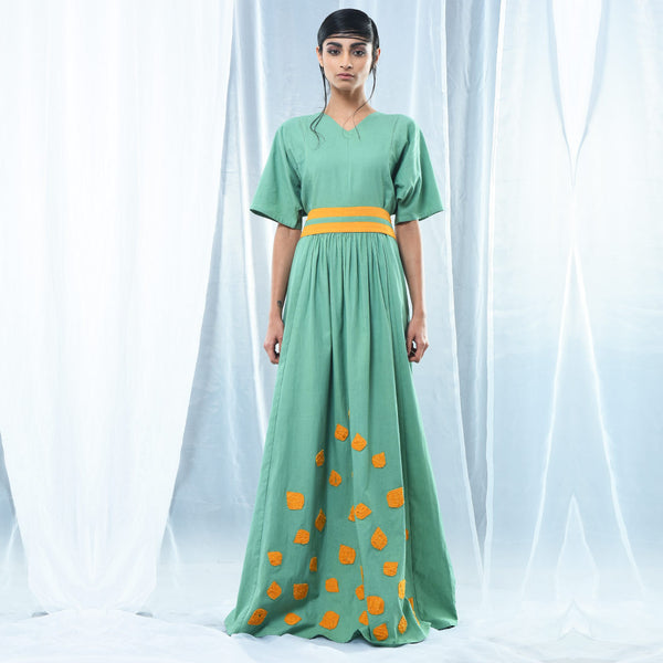 Green Cotton Maxi Dress by Kanelle by Kanika Jain