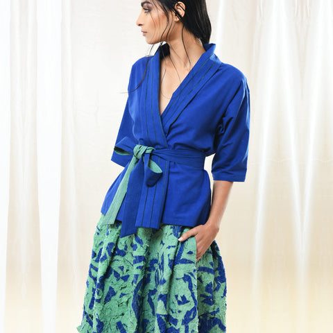 Blue Cotton Wrap Jacket With Belt by Kanelle by Kanika Jain