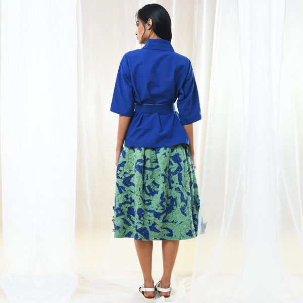 Green & Blue Textured Skirt