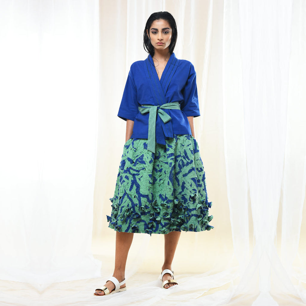 Green & Blue Textured Skirt by Kanelle by Kanika Jain