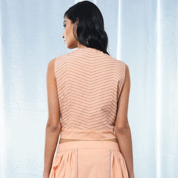 Peach Cotton Wrap Belt Top
