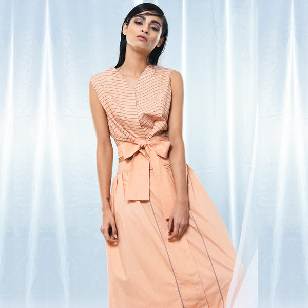 Peach Cotton Wrap Belt Top by Kanelle by Kanika Jain