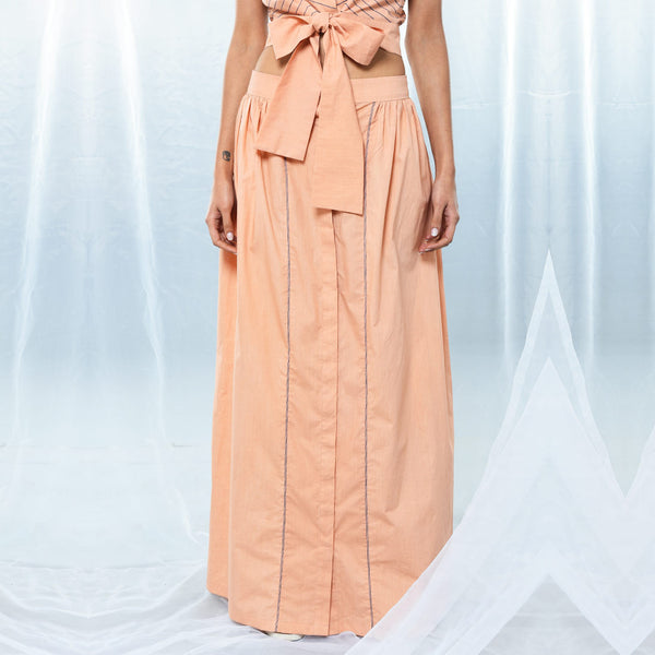 Peach Cotton Long Gathered Skirt
