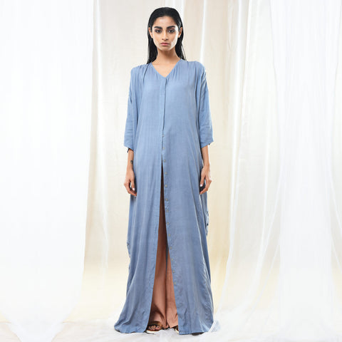 Blue Cotton Oversized Shirt Dress by Kanelle by Kanika Jain