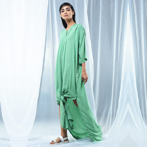 Green Cotton Oversized Shirt Dress by Kanelle by Kanika Jain