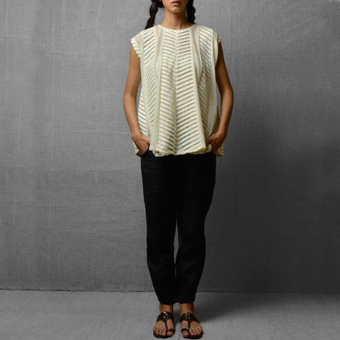 White Cotton Net & Rayon Sheer Kalidar Top With Fabric Pleat Detail by Kanelle by Kanika Jain