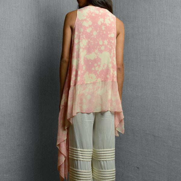 Pink Cotton Rayon & Georgette Print Drape Asymmetrical Top With Frill Panel At The Hem