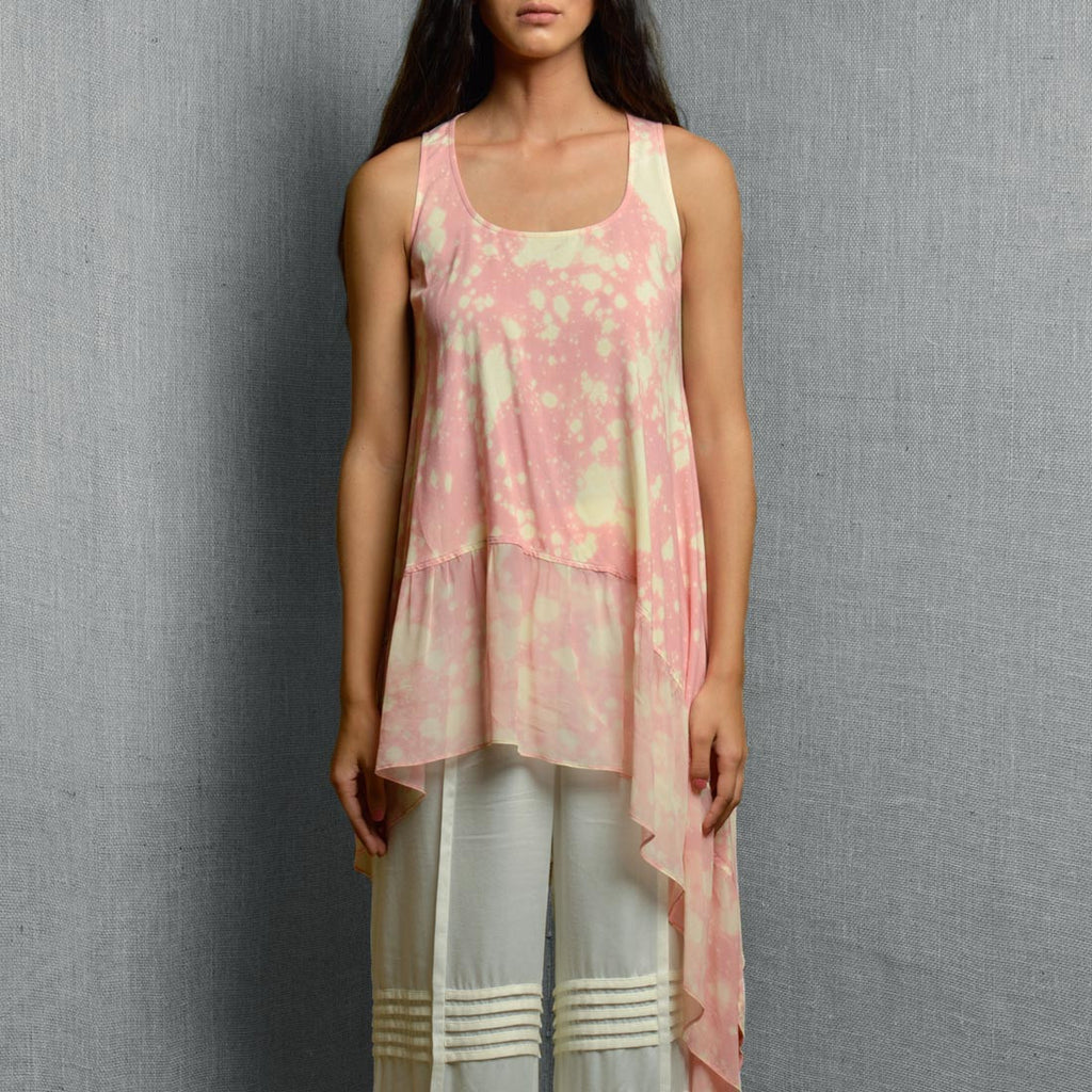 Pink Cotton Rayon & Georgette Print Drape Asymmetrical Top With Frill Panel At The Hem by Kanelle by Kanika Jain