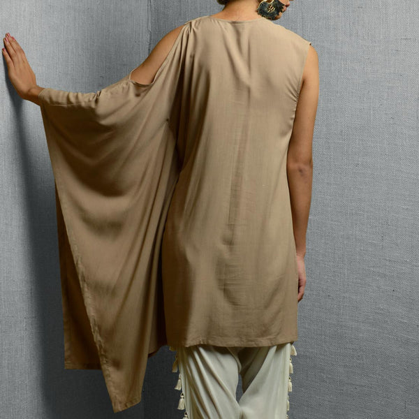 Beige Cotton & Rayon Kaftan Style Kurta With Abstract Front Body Detail & Patchwork