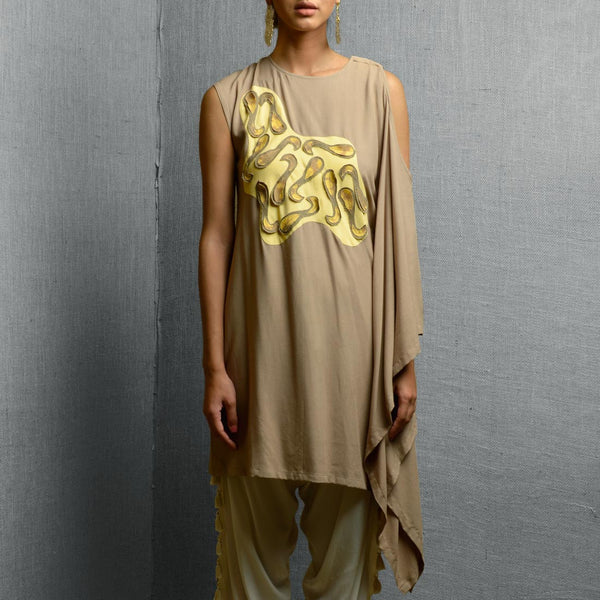 Beige Cotton & Rayon Kaftan Style Kurta With Abstract Front Body Detail & Patchwork by Kanelle by Kanika Jain