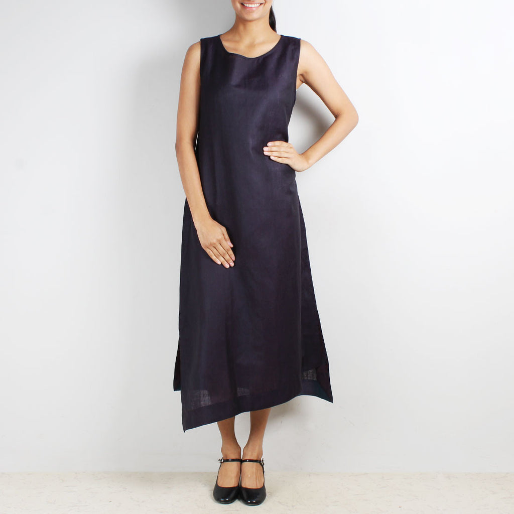 Purple Sleeveless Asymmetric Dress by Kaveri / K Clothing