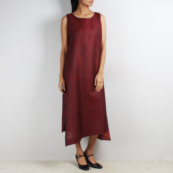 Sleeveless Asymmetric Dress & Maroon Tube Top Set