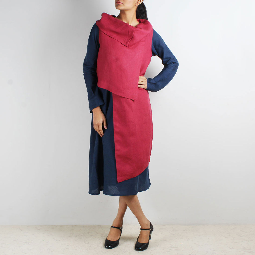 Blue Bias Linen Dress & Patchwork Over Top Set by Kaveri / K Clothing