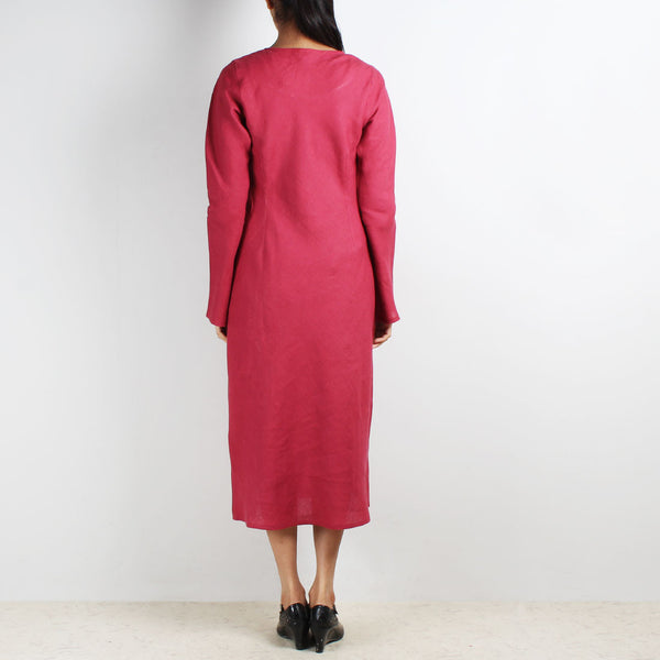 Maroon Long Sleeve Bias Linen Dress