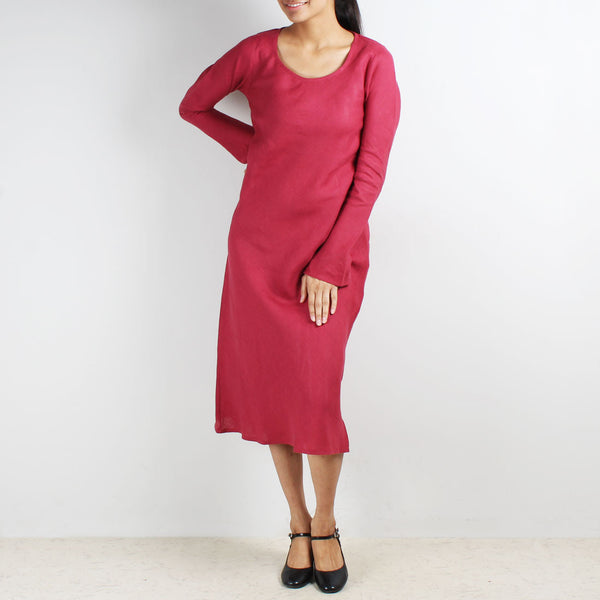 Maroon Long Sleeve Bias Linen Dress by Kaveri / K Clothing