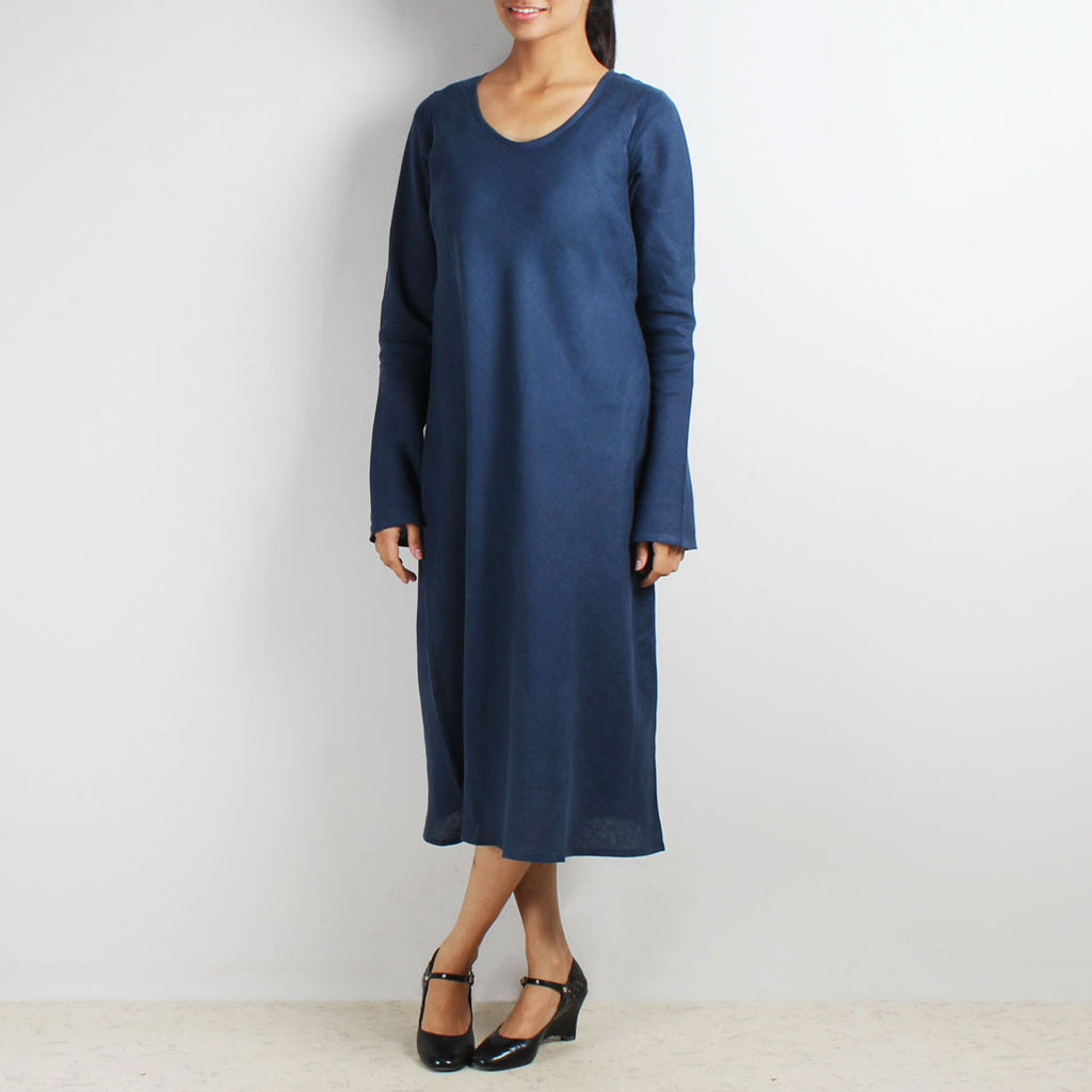 Blue Long Sleeve Bias Linen Dress by Kaveri / K Clothing