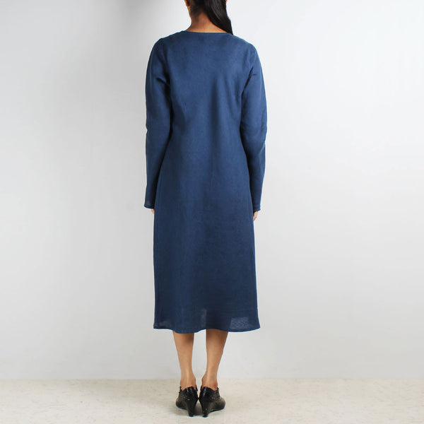 Blue Long Sleeve Bias Linen Dress