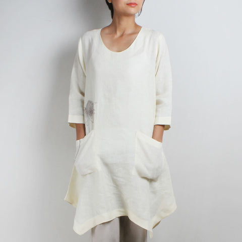 White Asymmetrical Flower Embroidered Linen Tunic by Kaveri / K Clothing