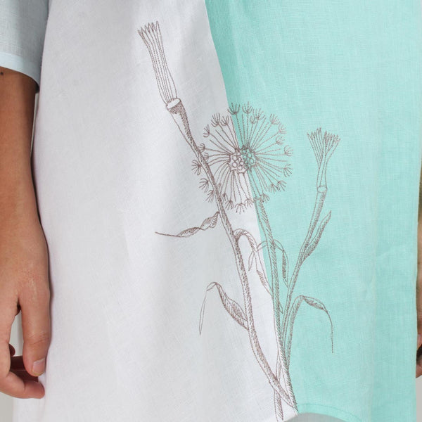 White Cross Pattern Flower Embroidered Patchwork Linen Tunic
