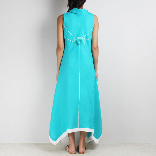 Turquoise Shaded Flowers Hanky Hem Linen Dress