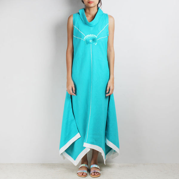 Turquoise Shaded Flowers Hanky Hem Linen Dress by Kaveri / K Clothing