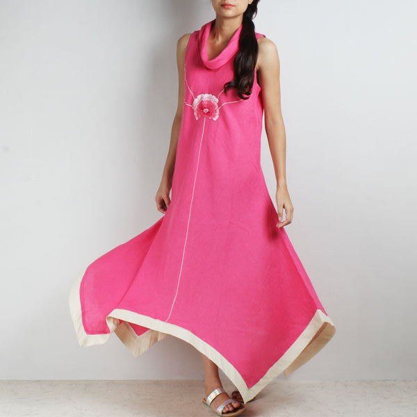 Pink Shaded Flowers Hanky Hem Linen Dress by Kaveri / K Clothing