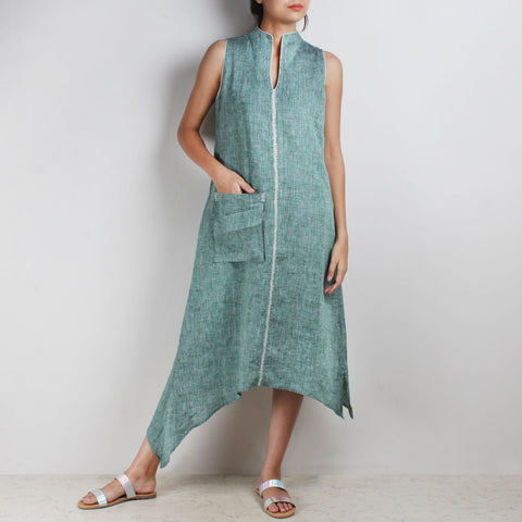 Green Asymmetrical High V Neck Linen Tunic by Kaveri / K Clothing
