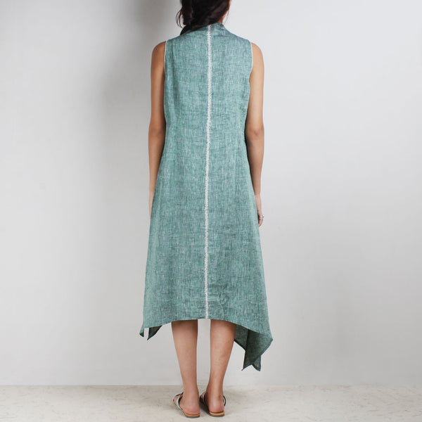 Green Asymmetrical High V Neck Linen Tunic