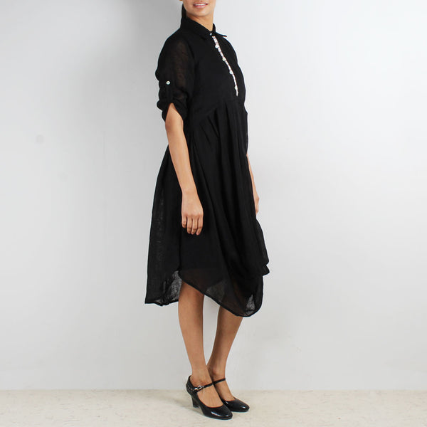 Black Front Cowl Collared Dress