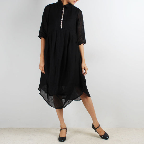 Black Front Cowl Collared Dress by Kaveri / K Clothing