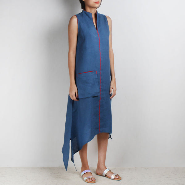 Blue Asymmetrical High V Neck Linen Tunic