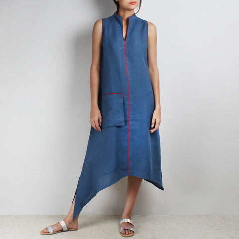 Blue Asymmetrical High V Neck Linen Tunic by Kaveri / K Clothing