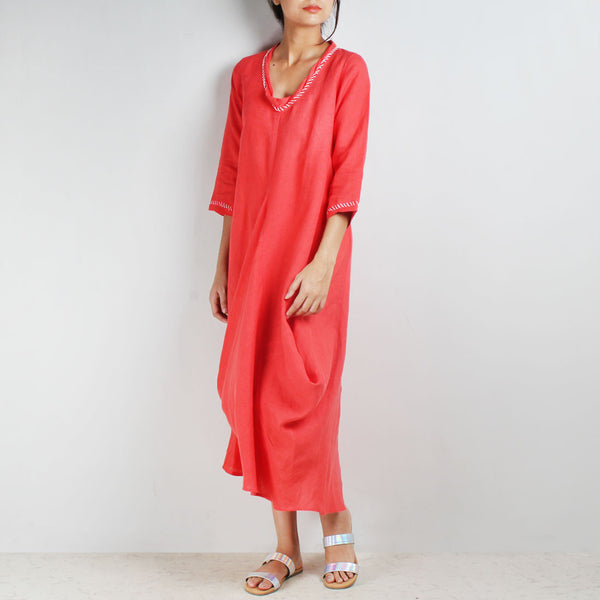 Red Knee Length Bali High Side Cowl Linen Dress