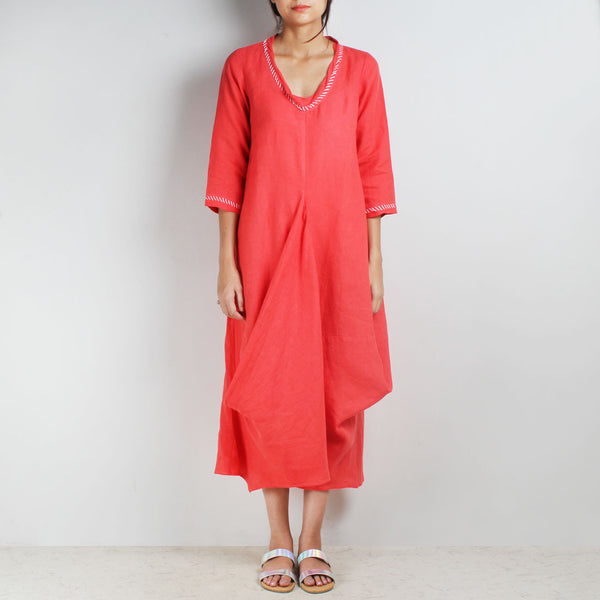Red Knee Length Bali High Side Cowl Linen Dress by Kaveri / K Clothing