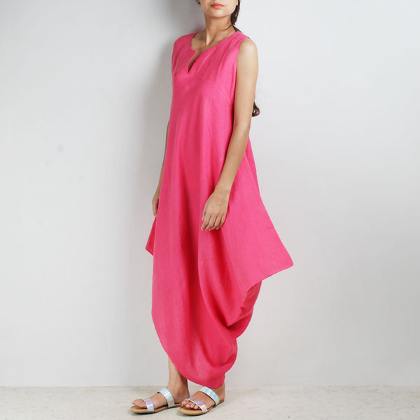 Pink Knee Length Bali High Side Cowl Linen Dress
